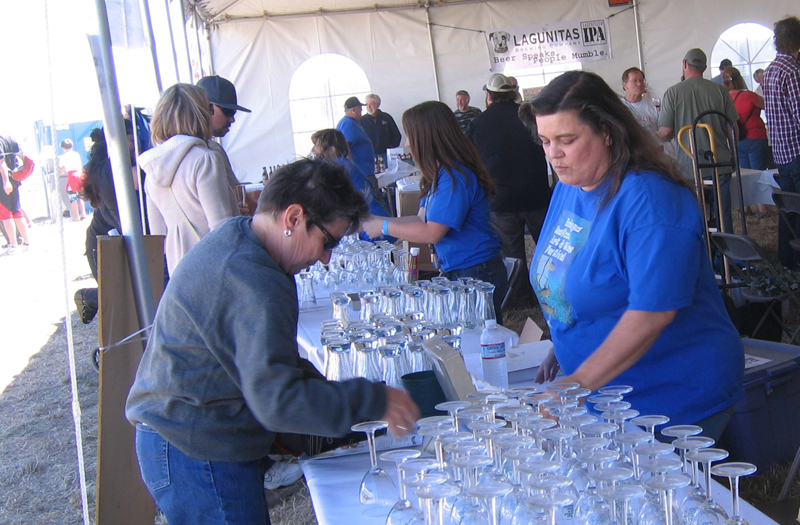 wine and beer glasses in Tasting Tent